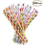 Paper Straws, 200 pack, Biodegradable Paper Drinking Straws- 8 Different Colors Rainbow Stripe Paper Drinking Straws for Party Supplies, Birthday, Wedding, Decorations and Celebrations (Yacolife)