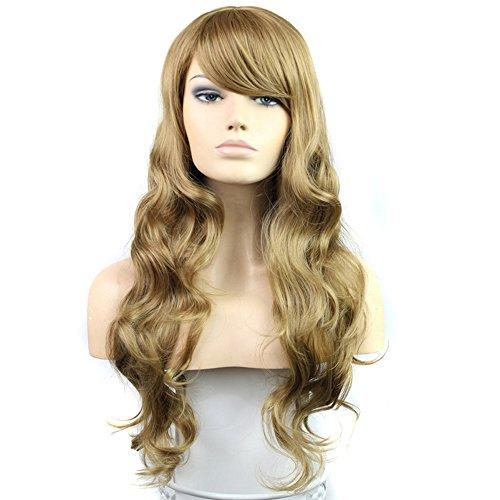 HSG New Fashion Women's Long Dark Blonde Wigs Fluffy Wavy Curly Wigs Sexy Full Hair Wigs TF1207 (Dark Blonde Wig)