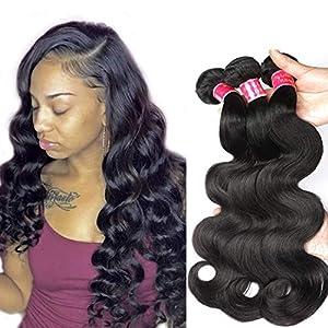9A Body Wave Bundle Deals Brazilian Virgin Human Hair Bundles (18 18 18) Brazilian Body Wave Remy Human Hair Weft 100…