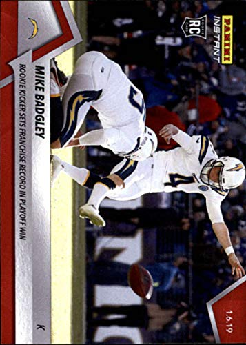 2018 Panini Instant Football #372 Mike Badgley RC Rookie Los Angeles Chargers Kicker Sets Franchise Record in Playoff Win Print Run 65 January 6 2019