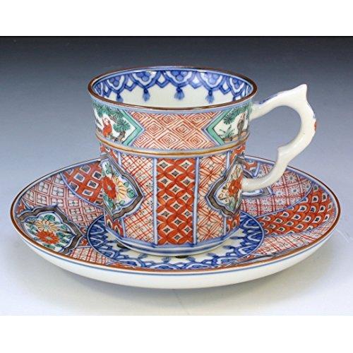 Kiyomizu-kyo yaki ware. Coffee teacup and saucer shonzui with paper box. Porcelain. kymz-CSE528