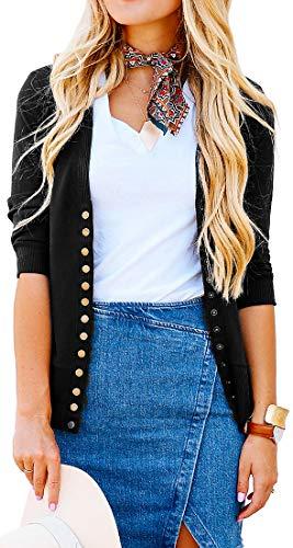 NENONA Women's V-Neck Button Down Knitwear Long Sleeve Soft Basic Knit Snap Cardigan Sweater(Black-3/4 Sleeve-L) (3/4 Cardigan Sleeve V-neck)