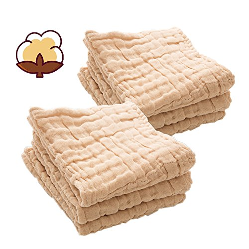 MUKIN Baby Muslin Washcloths – 100% Organic Cotton - Baby Face Towel Set – Reusable Baby Wipes and Muslin Washcloth Set for Newborn Baby - Baby Registry as Shower Gift. (6 Pack) (10x10)