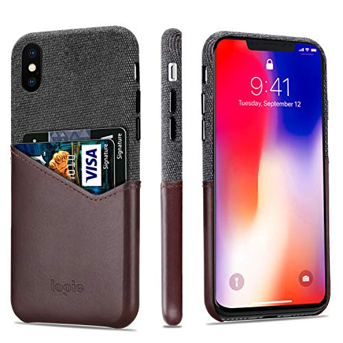 lopie [Sea Island Cotton Series Slim Card Case Compatible for iPhone X/10 2017, Fabric Protection Cover with Leather Card Holder Slot Design, Coffee
