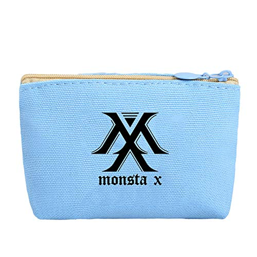 Youyouchard Kpop GOT7 MONSTA X SEVENTEEN Canvas Pencil Case Stationery Bag Pencil Box Coin Bag Cosmetic Bag Charm Zipper Pouch Wallet K-Pop Fans Bags(MONSTA X(blue)) ()
