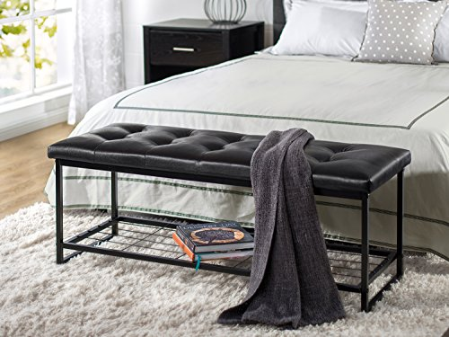 Zinus Faux Leather Tufted / Hallway / Entry / Bed / 48 Inch Bench with Storage Shelf - Black Leather Bench