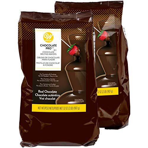 Wilton Chocolate Pro - Melting Chocolate Wafers for Chocolate Fountains or Fondue, Multipack of two 2 lb. bags, 4 lbs. ()