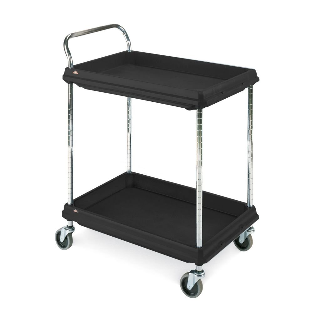 Metro Deep Ledge Series Polymer Utility Cart with 4 Swivel Casters, 2 Shelves, 400 lb. Capacity, 41'' Height x 27'' Width x 38-3/4'' Length, Black