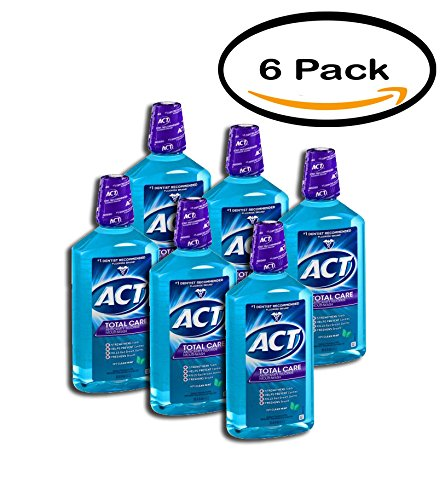 PACK OF 6 - ACT Total Care Icy Clean Mint Anticavity Fluoride Mouthwash, 33.8 - Mint Clean Icy