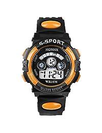 Anxinke Waterproof Children Watches, Boys Alarm Date Sports LED Digital Wristwatch (Orange)