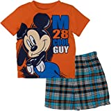 Disney Infant Baby Boys' Mickey Mouse Plaid Short Set with T-Shirt, Orange 3T