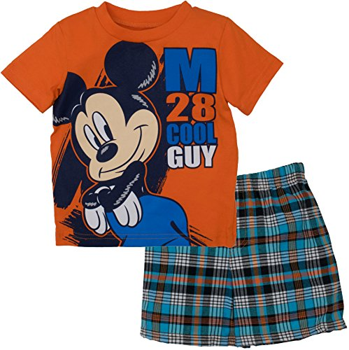 Disney Infant Baby Boys' Mickey Mouse Plaid Short Set with T-Shirt, Orange 18 Months