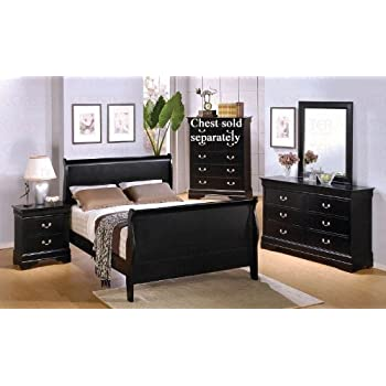 This Item 4pc Queen Size Sleigh Bedroom Set Louis Philippe Style In Black Finish