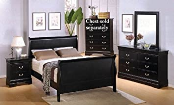 Amazon.com: 4pc King Size Sleigh Bedroom Set Louis Philippe Style ...