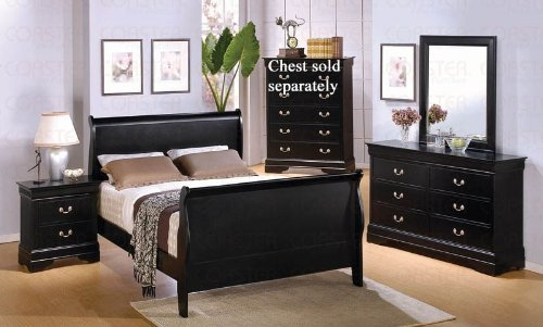 Sleigh Bedroom Glass Bed (4pc Full Size Sleigh Bedroom Set Louis Philippe Style in Black Finish)