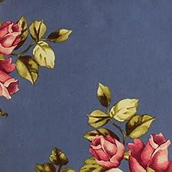 "Multi Color 58"" Floral Printed Wool Peach Fabric (Yard, Denim Pink)"