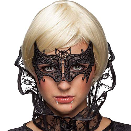 Women Black Lace Mask,Batman Veil Queen Eye Mask for Halloween Masquerade (Mask Black Bat)