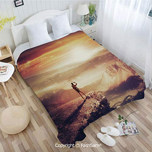 - PUTIEN Flannel Fleece Blanket with 3D Traveler Woman with Backpack on Mountain Surveying Sunset Adventure Photo Print for Fun Playroom Decorations(49Wx78L)
