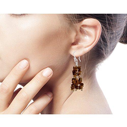 NOVICA Tiger s Eye .925 Sterling Silver Waterfall Earrings, Rejoice