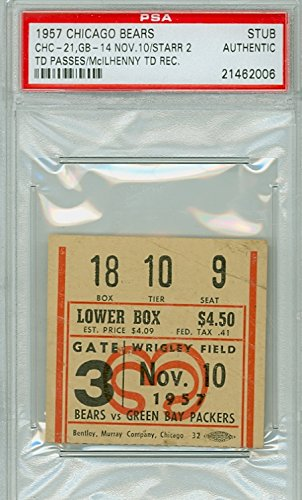 1957 Chicago Bears Ticket Stub vs Green Bay Packers Bart Starr 2 TDs Hugh McIlhenny TD - Bears 24-21 November 10, 1957 [[Grades G-VG; Lt Creases]]
