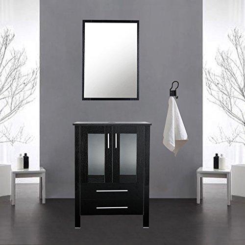 Black U-Eway 24 Bathroom Vanity Modern Pedestal Cabinet Set With 2 Drawers Wood MDF 20-inch Deep 24Lx20Wx32H Bathroom Vanity Cabinet,Modern Free Stand Cabinet With Mirror BT02