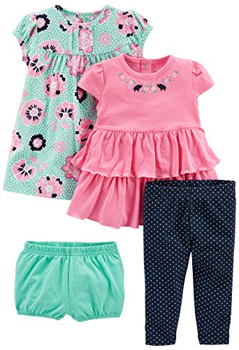 Simple Joys by Carter's Girls' 3-Piece Playwear Set, Pink/Blue, 6-9 Months