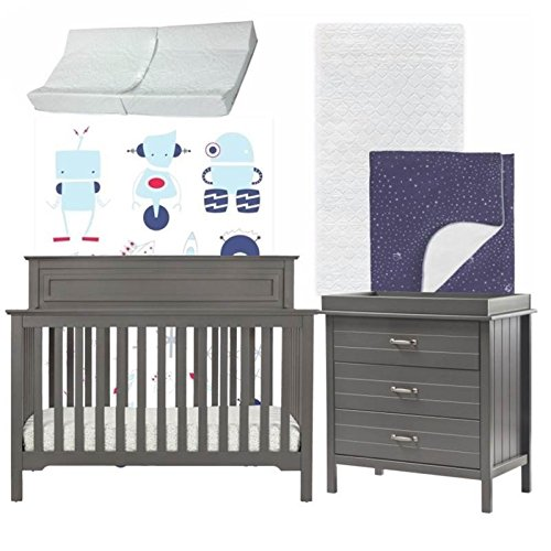 Galaxy Inspired 5 Piece Nursery Furniture Set in Gray & Blue by Home Square