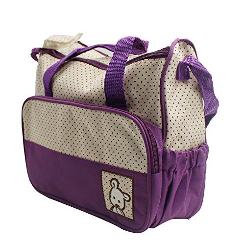 Set 5 kits Bolsa de Mama Para Bebe Biberon Bolso/Bolsa/Bolsillo Maternal Bebé para carro carrito biberón colchoneta comida pañal de color marrón púrpura