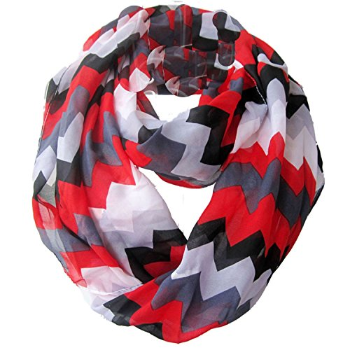 GYBest Colorful Premium Chiffon Soft Multicolor Charming Sheer Infinity Scarf (Chevron/Red)