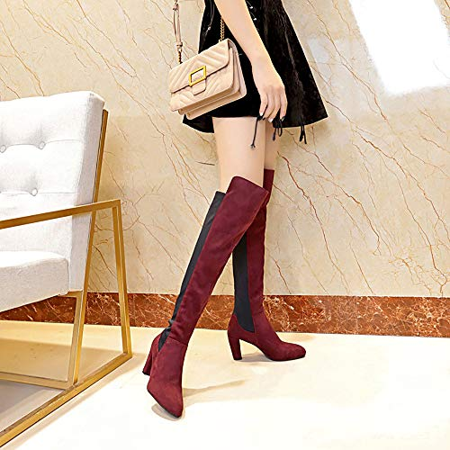 Bout Haut Pour Slim Mid Le Slip Cuisse Genou Byste Kitten Femmes Stretch Cuir Sur Casual En Bottes Faux Chaussures Rouge Daim Talon Pointu lastique Talons vvRan1