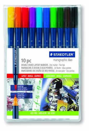 Staedtler Marsgraphic Duo Brush Markers, 3000WP10 by Staedtler