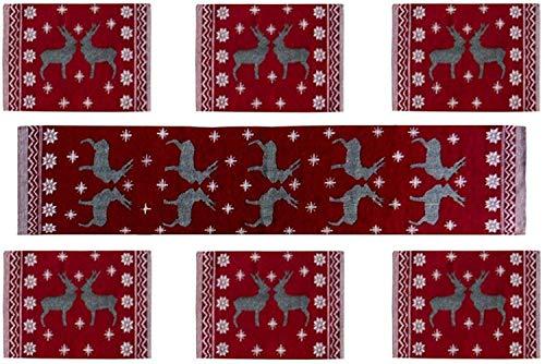 Samaaya Ⓡ 6 Table Mats with 1 Table Runner   Beautiful, Easy to Wash, Jacquard Linen Fabric Dinning Table Mats (13 x 18…