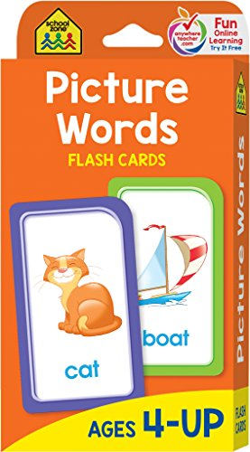 School Zone - Picture Words Flash Cards - Ages 4 and Up, Pre K and Up, Word-Picture Recognition, Hand-Eye Coordination, and More