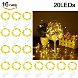 Fairy String Lights - SurLight Starry String Lights 16 Pack 7.2ft 20 LED Moon Lights Battery Operated Fairy Lights LED Mini Lights Firefly Lights Battery Pack Lights for Wedding Party Christmas Decor