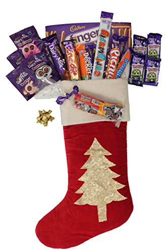 British Cadbury Variety & Mini Retro Pouch in a Large Luxurious Hand embroidered Velvet Christmas stocking - Crunchie, Picnic, Double Decker, Dairy Milk, Curly Wurly, Fudge and much more!