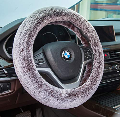 Best-Shops Soft Stretchable Sheepskin Black Steering Wheel Cover Protector - A Must Have for All Car Owners for a More Comfortable Driving