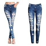 Leedford Ripped Holes Jeans,Women's Mid Waist Destroyed Ripped Hole Stretch Denim Skinny Jeans Distressed Trousers (S, Blue 5)