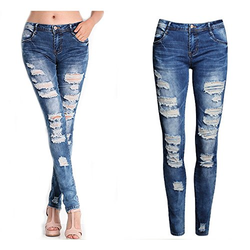 Rambling Denim Ripped Women Skinny Vintage with Low Waist Worn Casual Matches ()