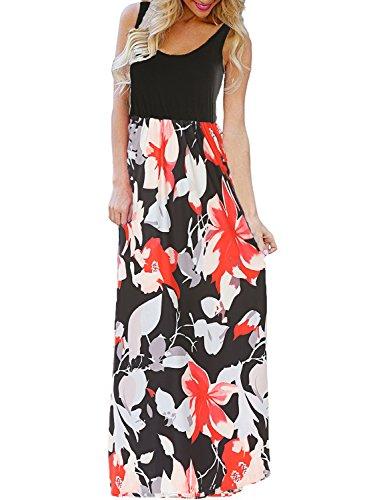 BLUETIME Women's Summer Boho Sleeveless Floral Print Tank Long Maxi Dress (Black, XXXL)