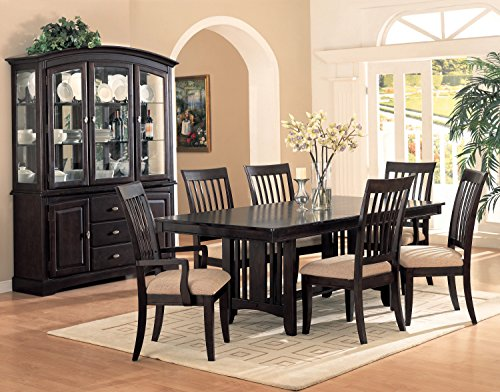Coaster Monaco Rectangular Double Pedestal Dining Table with Leaf in Cappuccino (Dining Table Rectangular Pedestal compare prices)