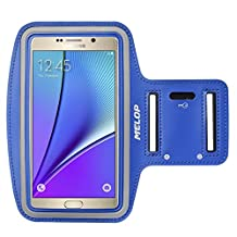 """MELOP Armband (5.7"""") for Samsung Galaxy Note 5 Note 4 Note 3 Note II Note Edge, J3 J3V J7, LG K7 K10 G5 SE, Soft Sweat Resistant Sports Gym Arm Band with Key Holder and Card / Cash Pocket - Blue"""