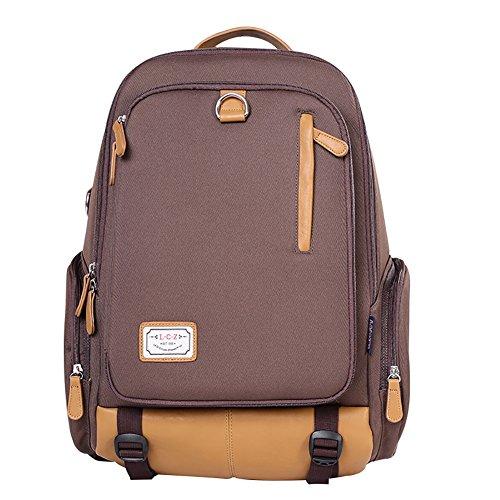 (Unisex Large Fashion Canvas Backpack School Laptop Bag Hiking Travel Rucksack Dark Coffee)
