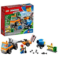 Join the LEGO Juniors/4+ 10750 Road Repair Truck roadwork crew and take care of the city streets! This starter set construction site toy features an Easy to Build Road Repair Truck with Starter Brick chassis, minifigure cab and an open back f...