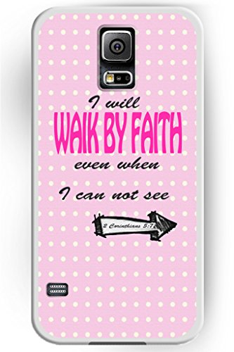 S5 Case, Case for Samsung Galaxy S5 Slim Snap on I Will Walk by Faith Even When I Can Not See 2 Corinthians 5:7 Girly Pink Poka Dots