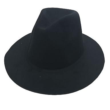 0c6d548b892 JTC(TM Women s Plain Color Wide Brim Fedora Trilby Hat Wool Blend Felt Cap  (Black)  Amazon.co.uk  Clothing