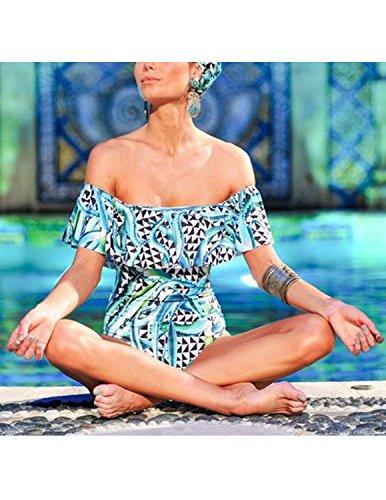 BYD Mujeres Ropa de baño Fantasía Trajes de una pieza Multicolor Impresión Floral Bandeau Bañador Tankini Push Up Bikinis Monokinis Color 2