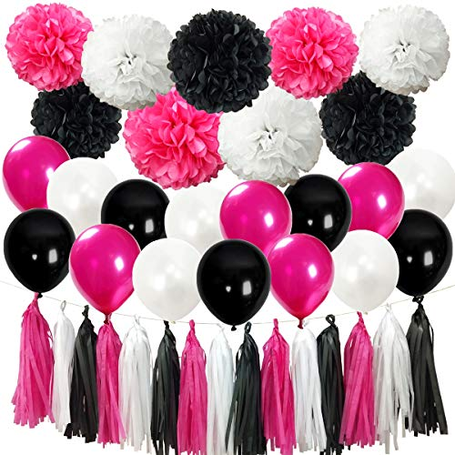 InBy 39pcs Rose Red and Black Party Decoration Kit for Birthday Baby Shower Bridal Shower Bachelorette Wedding Party Supplies Set - 12