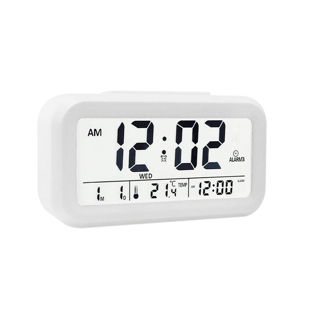 "EWTTO Digital Alarm Clock 4.6"" Large LCD Display Desk Clock Battery Operated with 3 Alarms /5 Music Sounds/Temperature/Snooze for Kids Bedroom Travel Office"