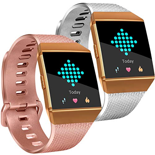 Tobfit Compatible Silicone Bands Replacement for Fitbit Ionic (2 Pack), Classic Wristbands Accessories Sport Straps for Women Men, Large, Rose Gold, Silver