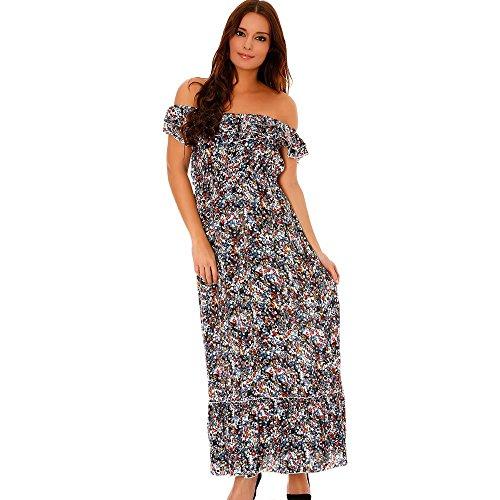 Miss Wear Line - Robe longue bleu à motif floral, volants et épaules dénudées